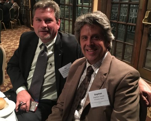 """American Littoral Society Executive Director Tim Dillingham and Princeton Hydro Founder Dr. Stephen J. Souza at the The American Society of Civil Engineers Central NJ Branch Annual Dinner getting ready to accept the """"Project of the Year"""" award for their work on the #BarnegatBay Green Infrastructure Project. The award-winning project focused on reducing the amount of pollution entering the Bay's waterways by retrofitting outdated #stormwatermanagement systems and implementing #greeninfrastructure on previously developed sites."""