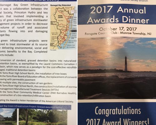 The award-winning project was a collaboration between American Littoral Society, #PrincetonHydro and a very supportive and engaged stakeholder group that involved implementing a variety of #greeninfrastructure projects in order to decrease the volume of #stormwater runoff and associated pollutants flowing into and damaging #BarnegatBay.