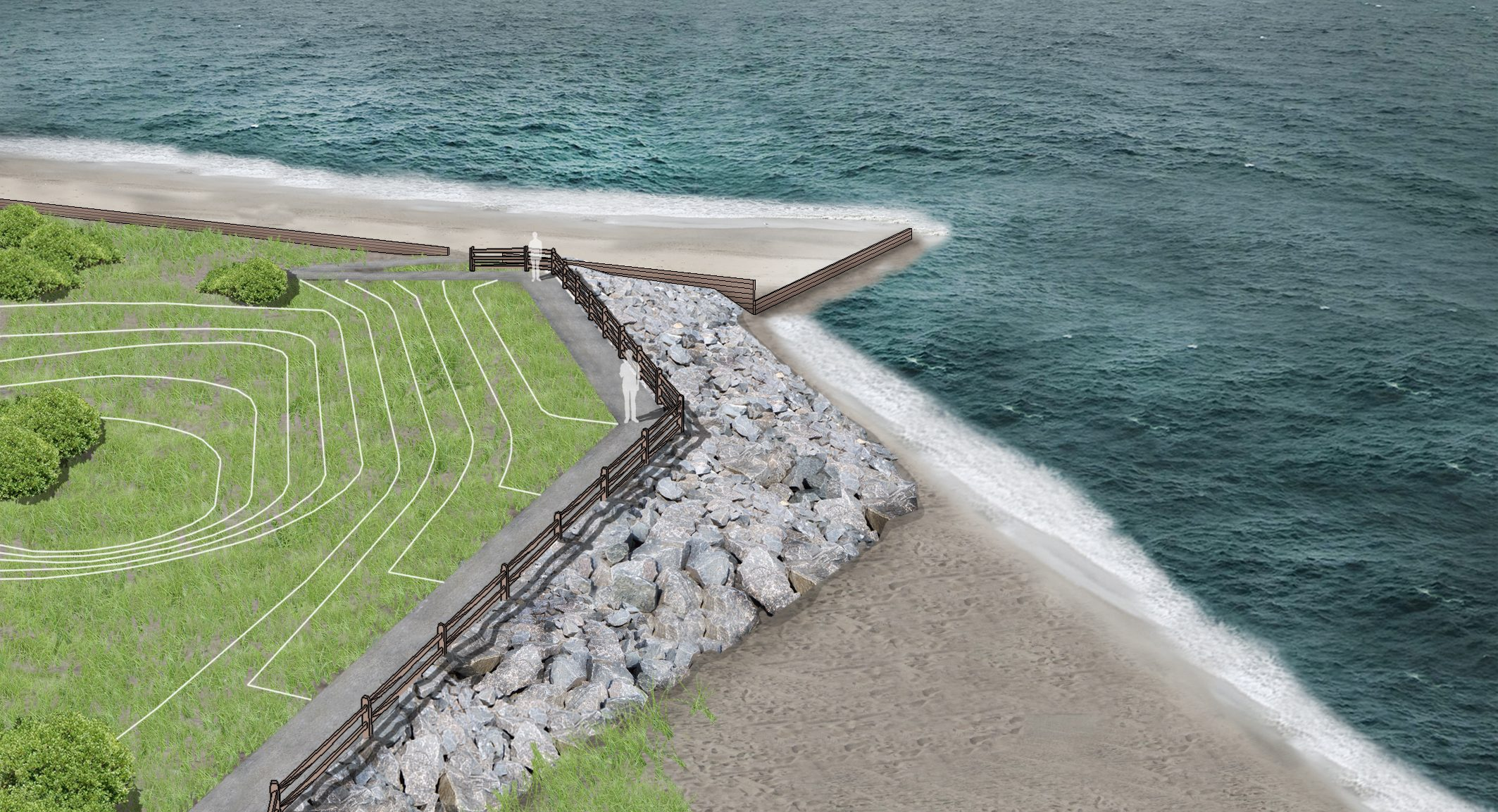 A rendering of the shoreline protection design by Princeton Hydro.