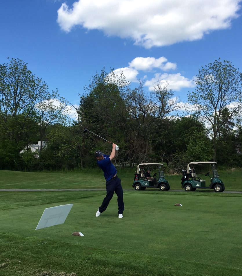 Scott Churm, Director of Aquatic Operations for Princeton Hydro, tees off at the 4th Annual Golf Outing