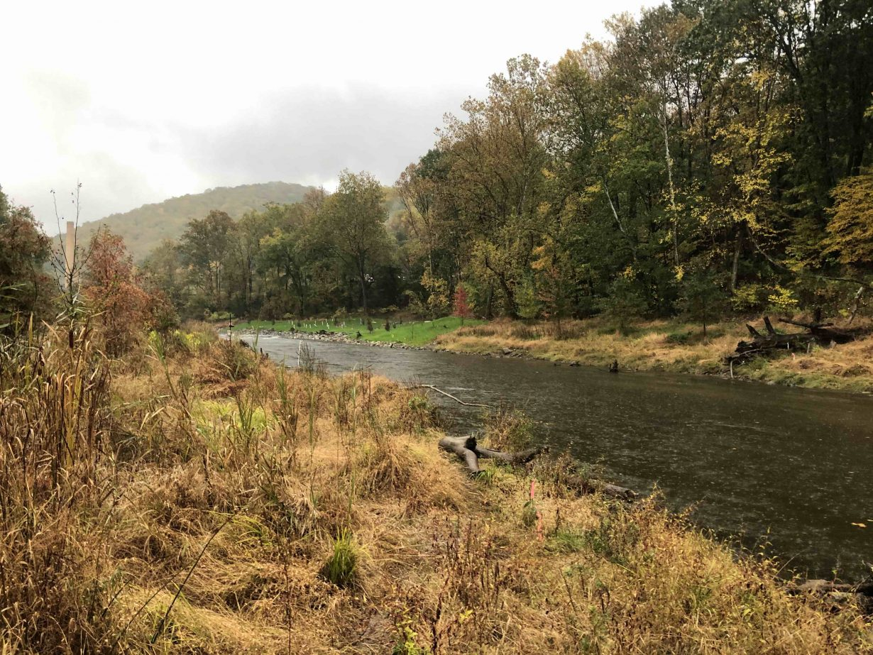 The Musconetcong River descends from lakes in its headwaters and proceeds 42 miles downstream to the Delaware River through a valley dotted with farms, hamlets, and mills.